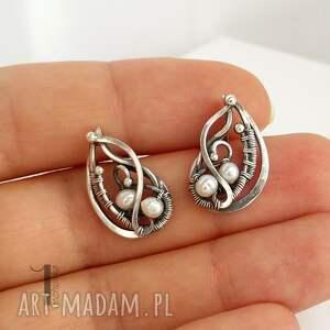 oksydowane kolczyki sorbus z perłą i srebrne