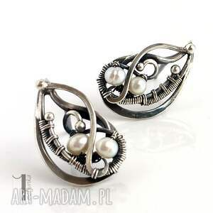 szare kolczyki perły sorbus z perłą i srebrne