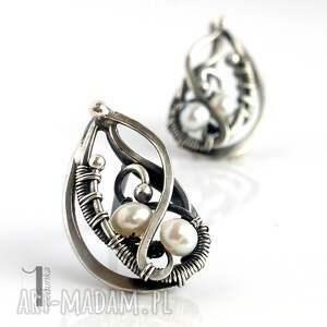 kolczyki oksydowane sorbus z perłą i srebrne