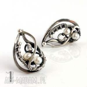 srebro kolczyki białe sorbus z perłą i srebrne