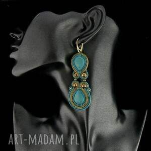 kolczyki soutache long turquoise