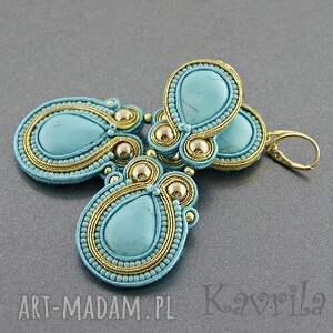Kavrila Kolczyki soutache long turquoise