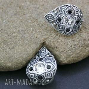 czarne kolczyki srebrne z cyrkoniami