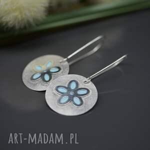 turkusowe kolczyki srebrne wiosenny kwiat