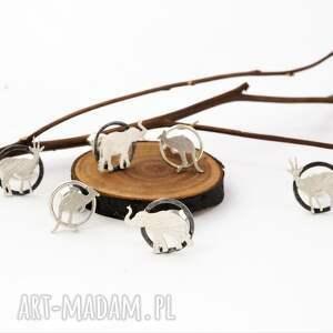 afryka srebrne kolczyki słonie