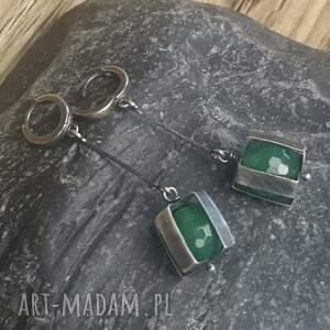 srebro-oksydowane kolczyki srebrne z zielonym onyksem