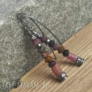 kolczyki ze srebra różowe srebrne z turmalinami