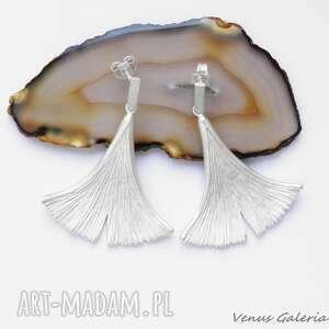 gustowne kolczyki bizuteria srebrne - ginko ii białe