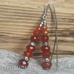 czerwone kolczyki kolczyki-wiszące srebrne z karneolem