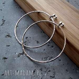 intrygujące okrągłe kolczyki srebrne duże koła -6,5cm
