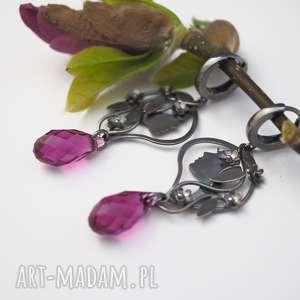 Jachyra Jewellery różowe driady srebrne - kwiaty peonii