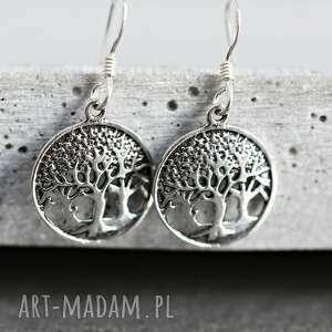 ręcznie wykonane kolczyki drzewo 925 srebrne życia
