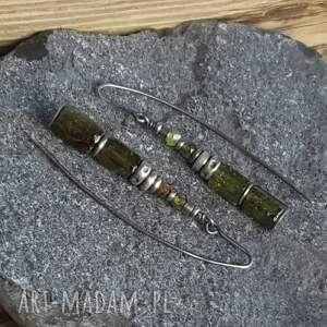 kolczyki kolczyki-granat srebrne z zielonymi