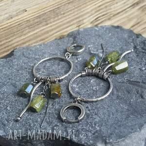 kolczyki kolczyki-granat srebrne z zielonym