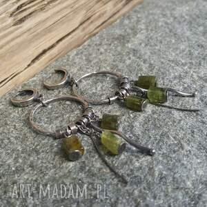 kolczyki-koła kolczyki srebrne z zielonym