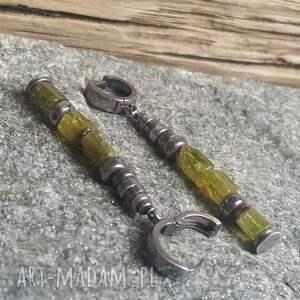 zielone kolczyki kolczyki-granat srebrne z zielonym
