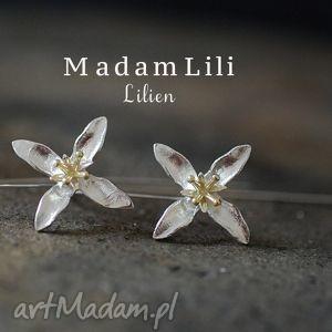 hand-made kolczyki lilie 925 srebrne lilia