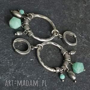 kolczyki metaloplastyka srebrne z amazonitami