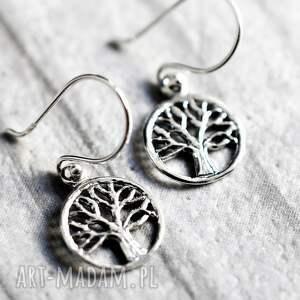 handmade kolczyki mini 925 srebrne drzewo