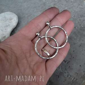 srebro oksydowane 3,5cm kolczyki srebrne koła