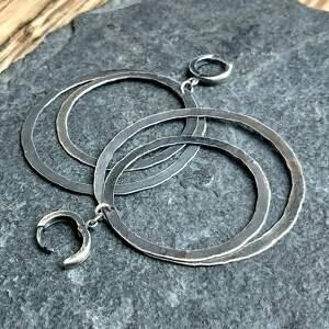 Kolczyki srebrne, podwójne koła - na prezent