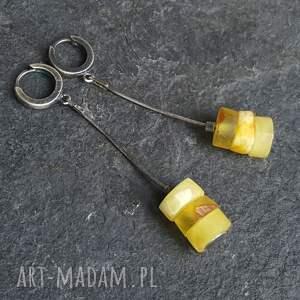 kolczyki na prezent srebrne z bursztynami