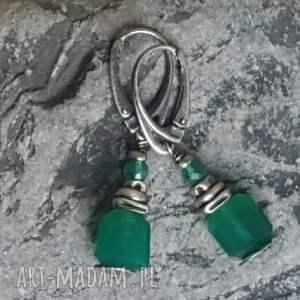 trendy kolczyki onyks-zielony srebrne z zielonymi