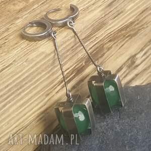 kolczyki onyks-zielony srebrne z zielonym onyksem