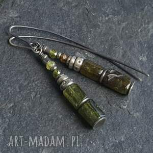 kolczyki srebro-granat srebrne z zielonymi
