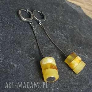 żółte kolczyki bursztyn srebrne z bursztynami