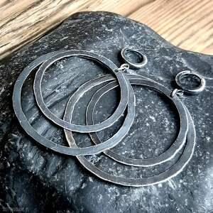 Treendy Kolczyki srebrne, podwójne koła - na prezent srebro oksydowane