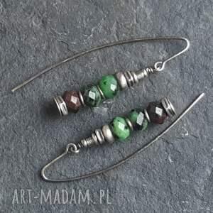 zielone kolczyki metaloplastyka srebrne z zoisytami