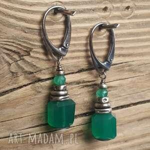 srebro-oksydowane kolczyki srebrne z zielonymi