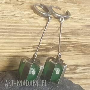 kolczyki srebro-oksydowane srebrne z zielonym onyksem
