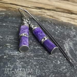 kolczyki na prezent srebrne z czaroitem