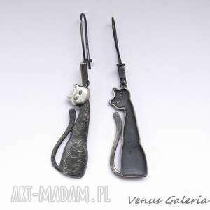 kolczyki srebro srebrne - czarne koty na