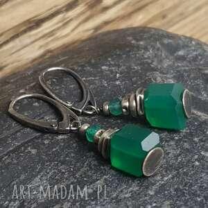 srebrne kolczyki onyks-zielony z zielonymi