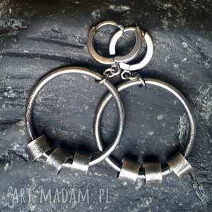 srebro oksydowane kolczyki srebrne koła