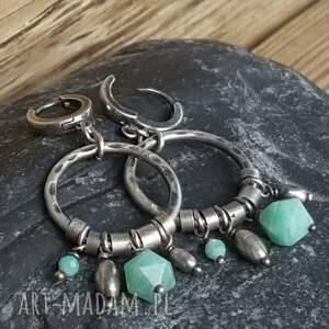 atrakcyjne kolczyki kolczyki-wiszące srebrne z amazonitami