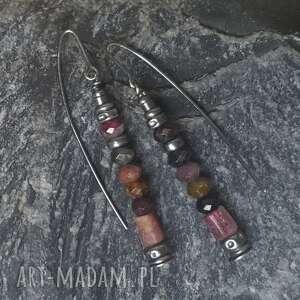 fioletowe kolczyki z-turmalinu wykonane ze srebra 925, bryłek