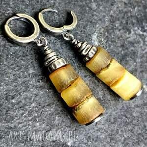 Kolczyki srebrne z bursztynami - ze srebra