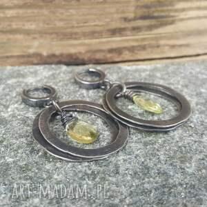 ciekawe kolczyki ze srebra srebrne z cytrynem