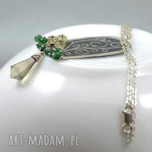 wyjątkowe grawerowany srebrny wisior