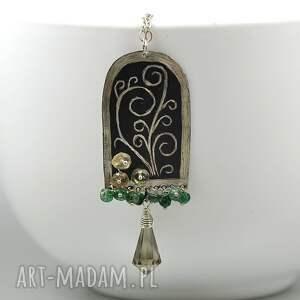 srebrny wisior grawerowany z awenturynem i kwarcem dymnym - oksydowany