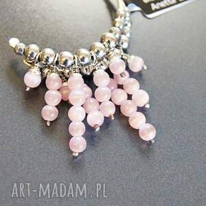 różowe kolczyki kółka srebro, bransoleta pastelowy