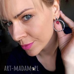 modne srebro i kwarc różowy - kolczyki