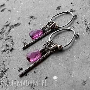 różowe kolczyki długie srebro i kwarc - boho
