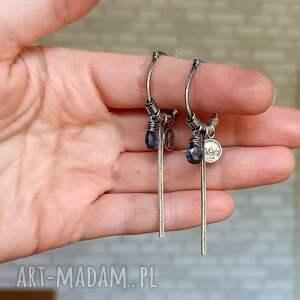 niebieskie kolczyki oryginalne srebro i kwarc - wiszące