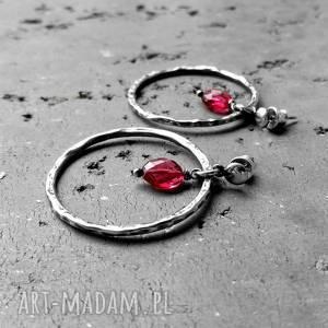 srebrne z kamieniami srebro i kwarc różowy - kolczyki