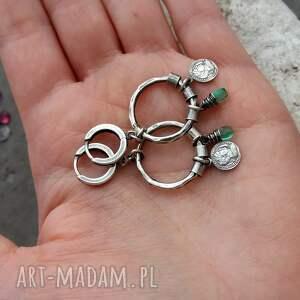 srebrne kolczyki zielone srebro i kwarc - koła boho